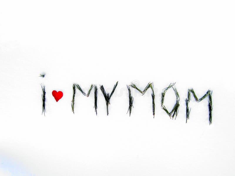 Eu amo minha mamã Palavras na neve - ` eu amo meu ` da mamã imagens de stock
