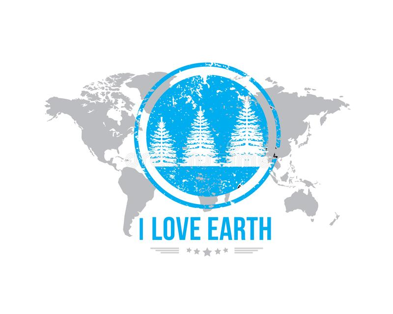 Eu amo o ícone retro clássico do projeto da terra ilustração royalty free