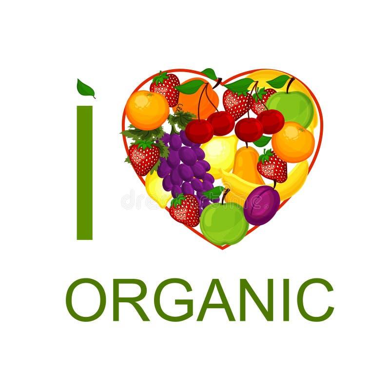 Eu amo o alimento biológico uma ilustração. ilustração stock