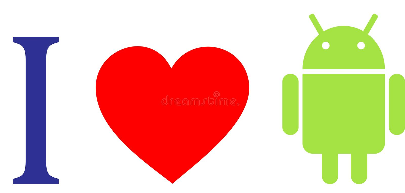 Eu amo o androide ilustração do vetor