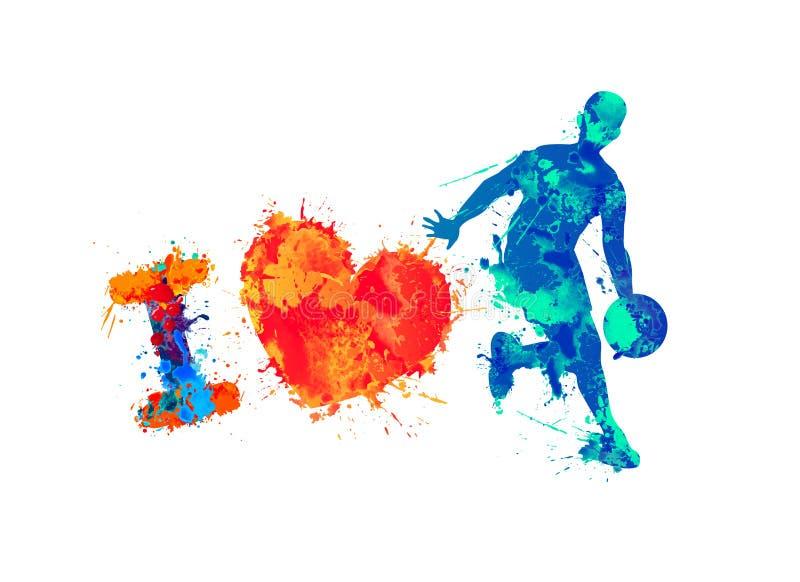 Eu amo o basquetebol Pintura do respingo ilustração do vetor