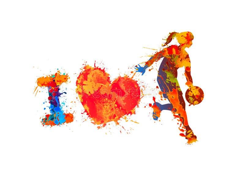 Eu amo o basquetebol Pintura do respingo ilustração stock