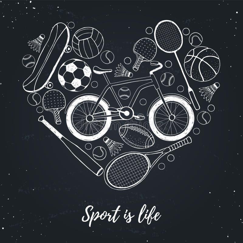 Eu amo o cartaz do esporte ilustração stock