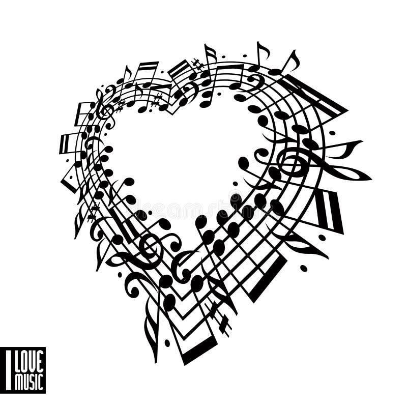 Eu amo o conceito da música Coração feito com notas musicais ilustração do vetor