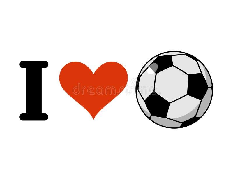 Eu amo o futebol Coração e bola Logotipo para fãs de esportes do futebol ilustração stock
