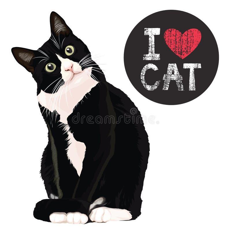 Eu amo o gato ilustração stock