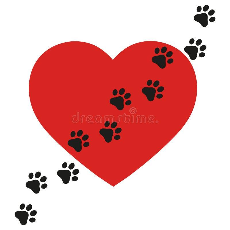 Eu amo o logotipo dos cães Eu amo meu texto do cão com coração vermelho Paw Print no fundo branco ilustração stock