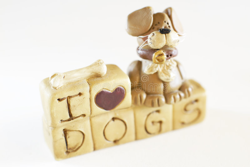 Eu amo o modelo do brinquedo dos cães fotografia de stock