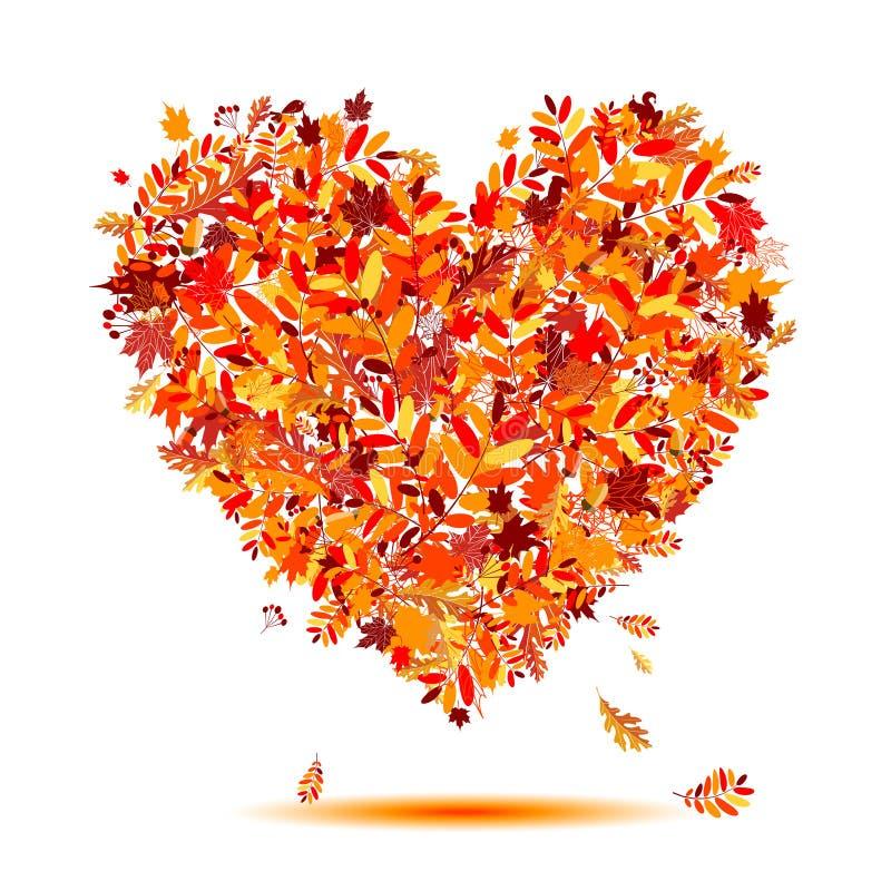 Eu amo o outono! Forma do coração das folhas de queda ilustração royalty free