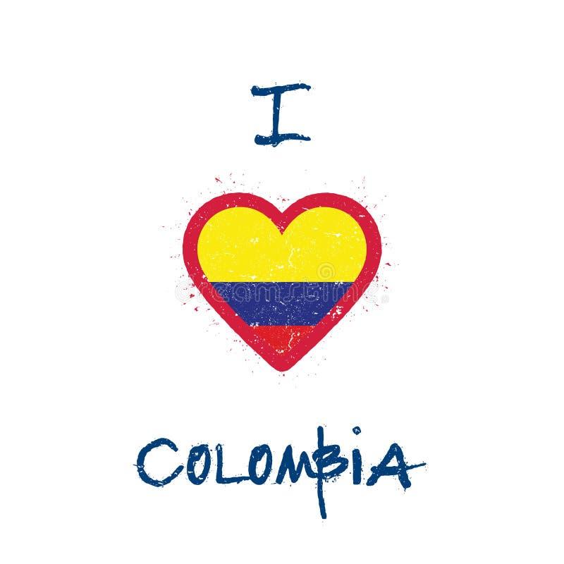 Eu amo o projeto do t-shirt de Colômbia ilustração royalty free