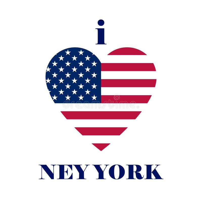 Eu amo o projeto do t-shirt de New York Moldes do T do coração com fla dos EUA ilustração royalty free