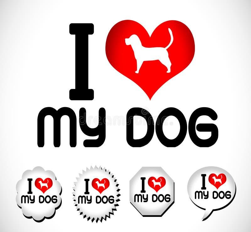 Eu amo o símbolo do cão e o cão bonito ilustração royalty free
