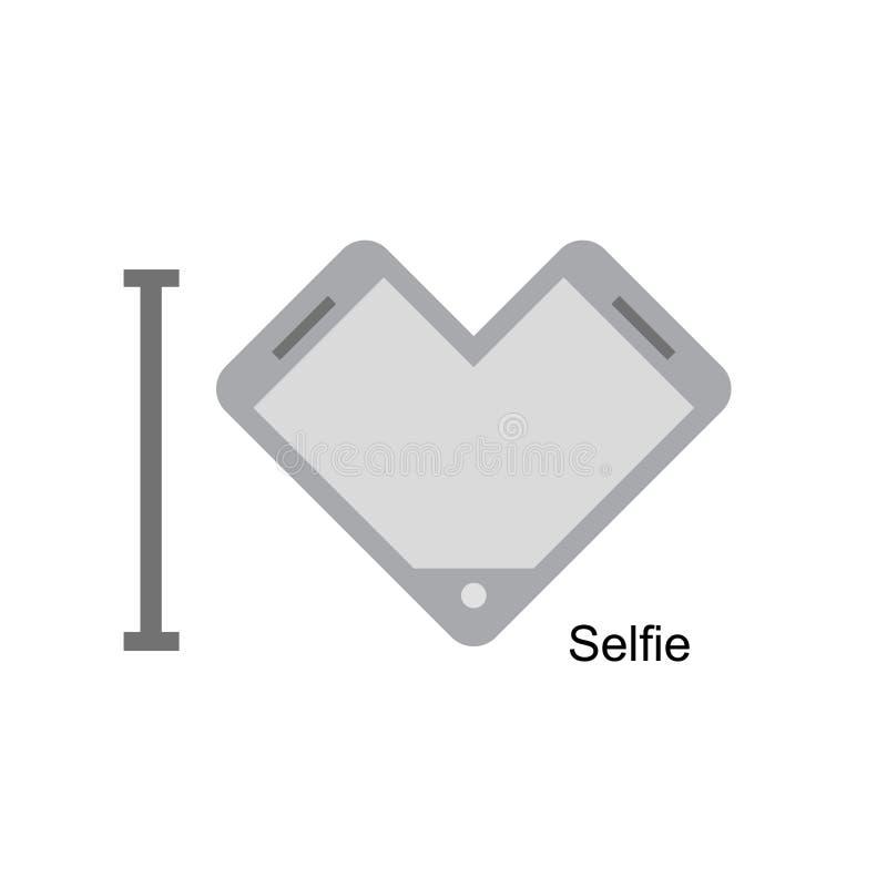 Eu amo o selfi Telefone como um símbolo do coração Ilustração do vetor Mim ilustração stock