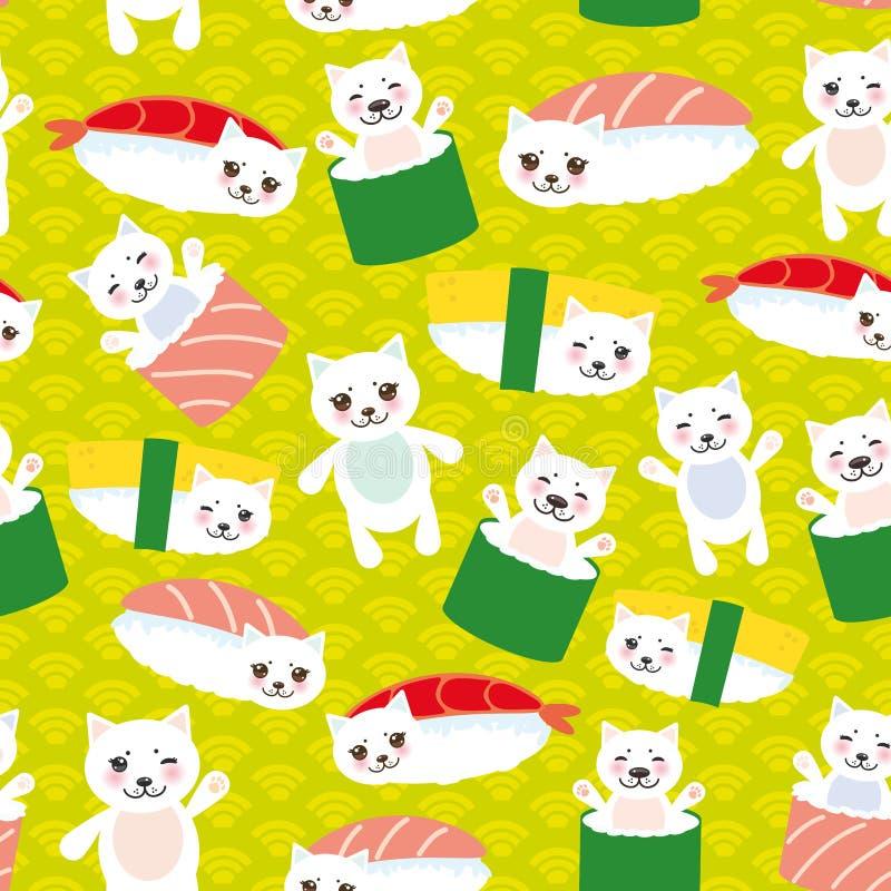Eu amo o sushi Sushi engraçado de Kawaii Maguro Toro com mordentes cor-de-rosa e os olhos grandes, emoji Fundo dos azuis bebê com ilustração royalty free