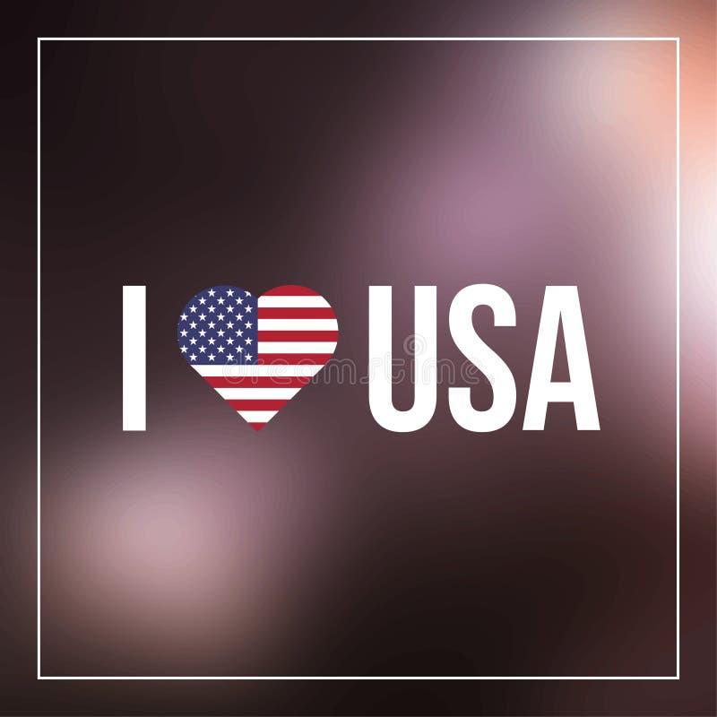 Eu amo o texto dos EUA com bandeira do coração ilustração royalty free