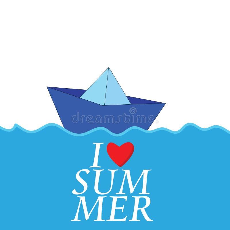 Eu amo o verão com vetor de papel da cor do barco ilustração stock