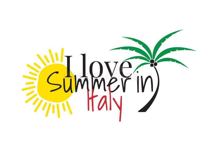 Eu amo o verão em Itália, exprimindo o projeto, decalques da parede, Art Decor isolei-me no fundo branco ilustração stock