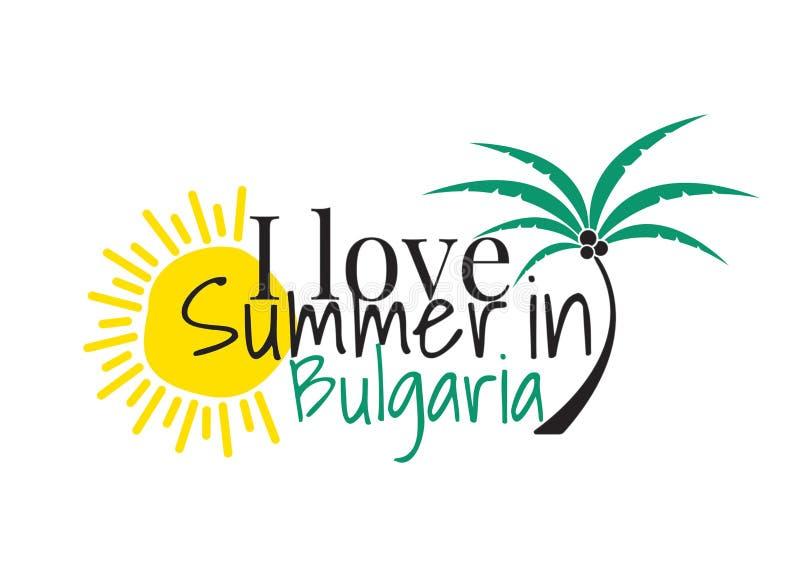 Eu amo o verão no logotipo de Bulgária, exprimindo o projeto, decalques da parede, Art Decor, isolado no fundo branco ilustração royalty free