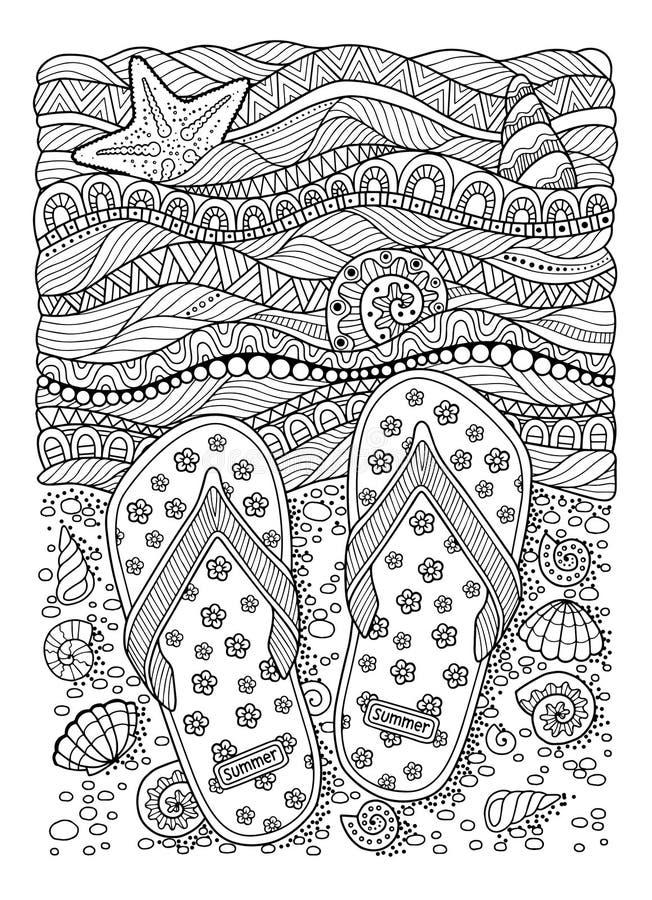 Eu amo o verão Praia do mar Deslizadores, areia e shell Sandália tirada mão do flip-flop ilustração stock