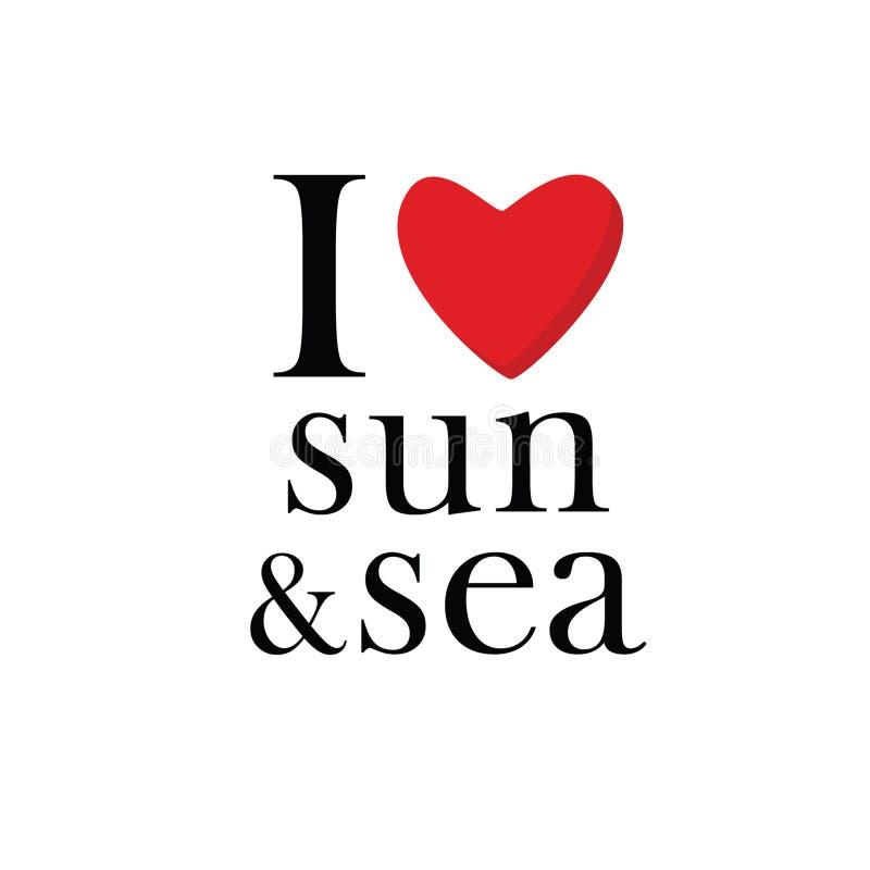 Eu amo o vetor do ícone do sol e do mar ilustração stock