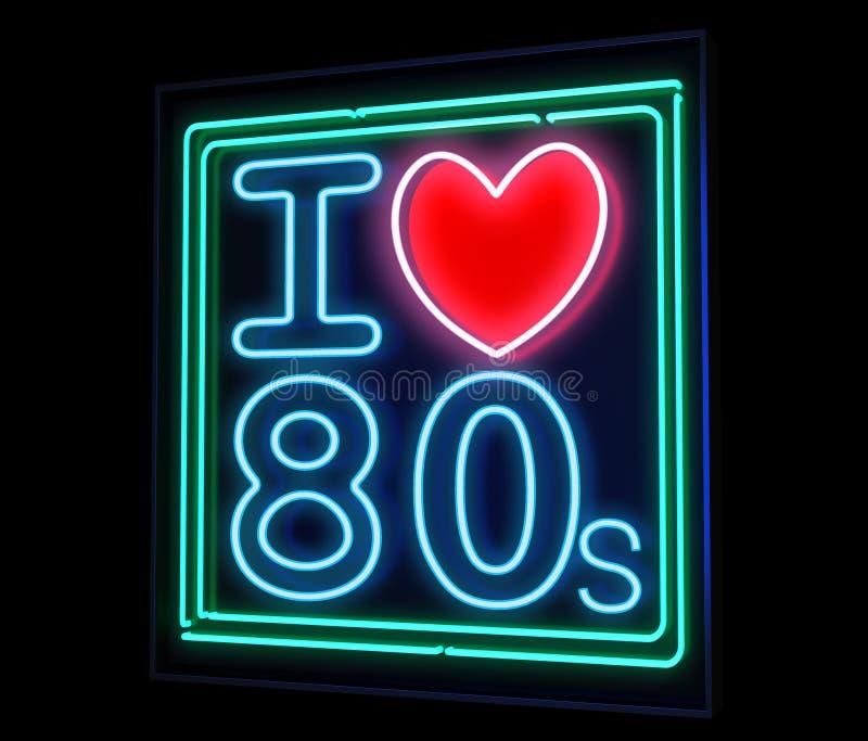 Eu amo os anos 80 de néon ilustração stock