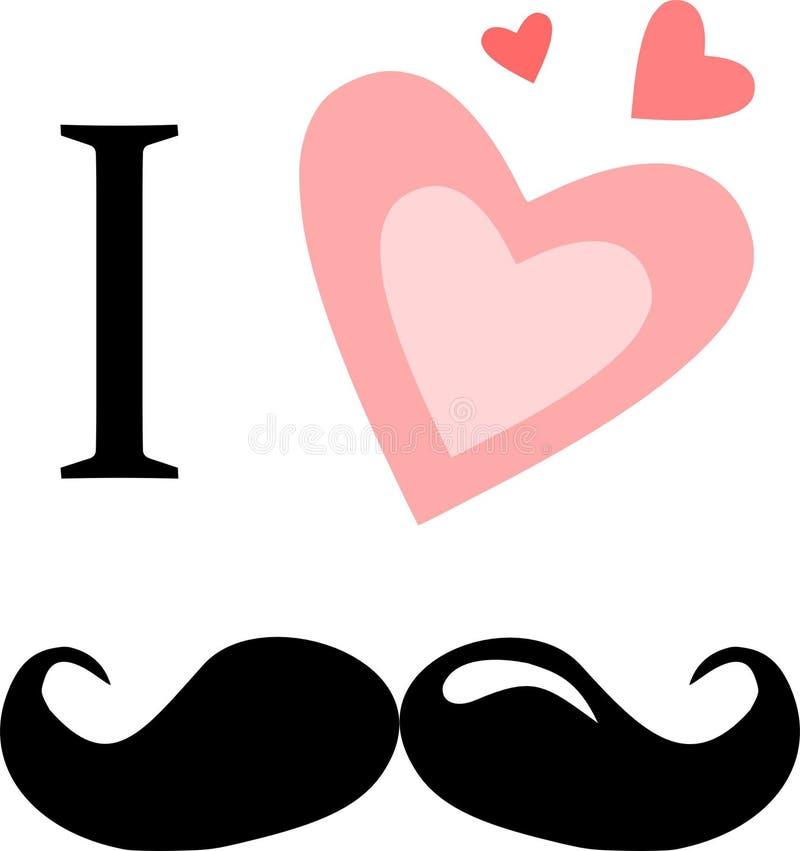 Eu amo os bigodes ilustração do vetor