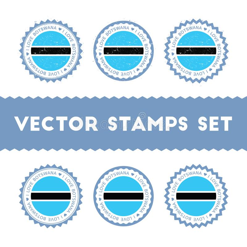 Eu amo os selos do vetor de Botswana ajustados ilustração royalty free