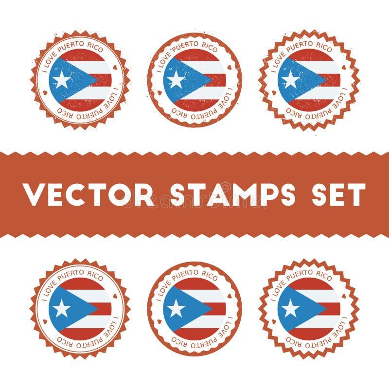 Eu amo os selos do vetor de Porto Rico ajustados ilustração stock