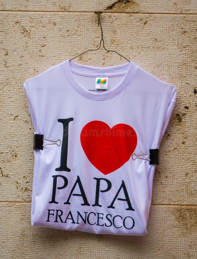Eu amo Papa Francesco - lembrança do Vaticano do papa imagem de stock royalty free