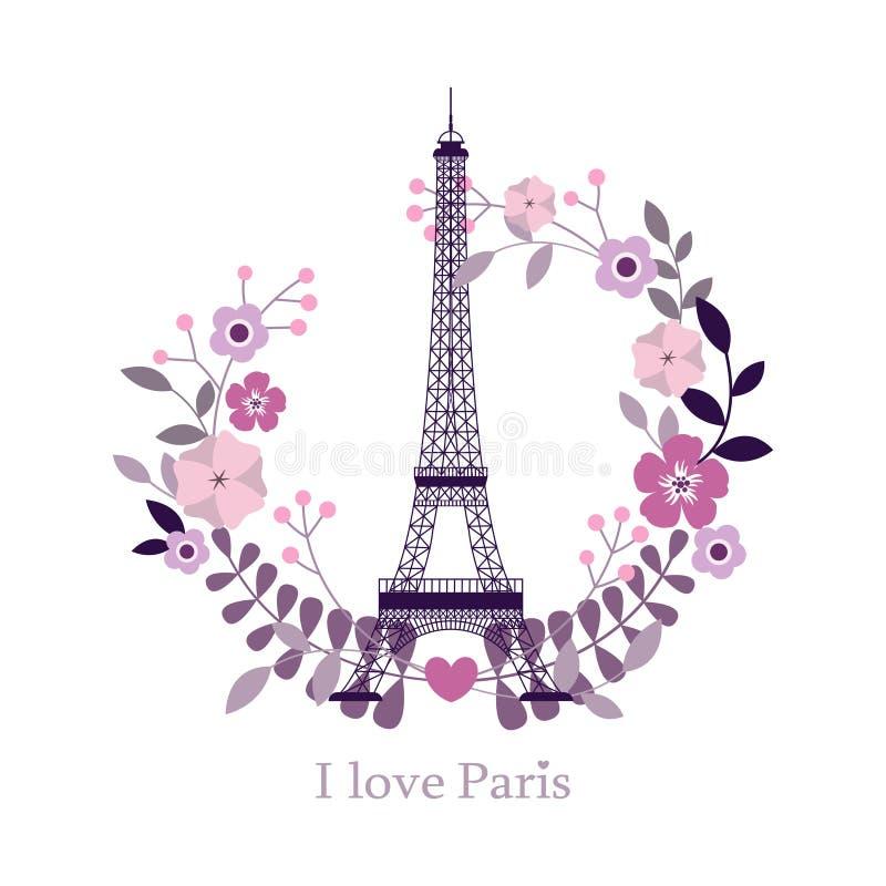 Eu amo Paris Imagem da torre Eiffel Ilustração do vetor Fundo de Paris Forma i à moda de Paris, França ilustração stock