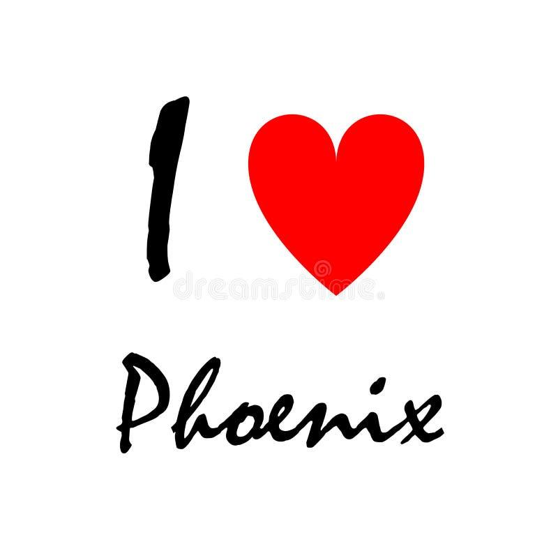 Eu amo Phoenix, logotipo ilustração stock