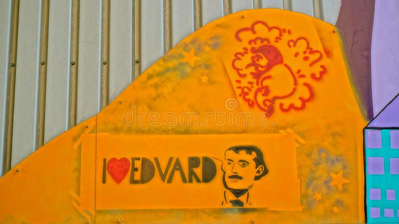 Eu amo a pintura mural de Edvard Munch fotografia de stock