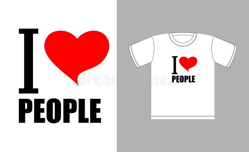Eu amo povos Símbolo do coração do amor Sinal para o bom homem dos t-shirt ilustração stock