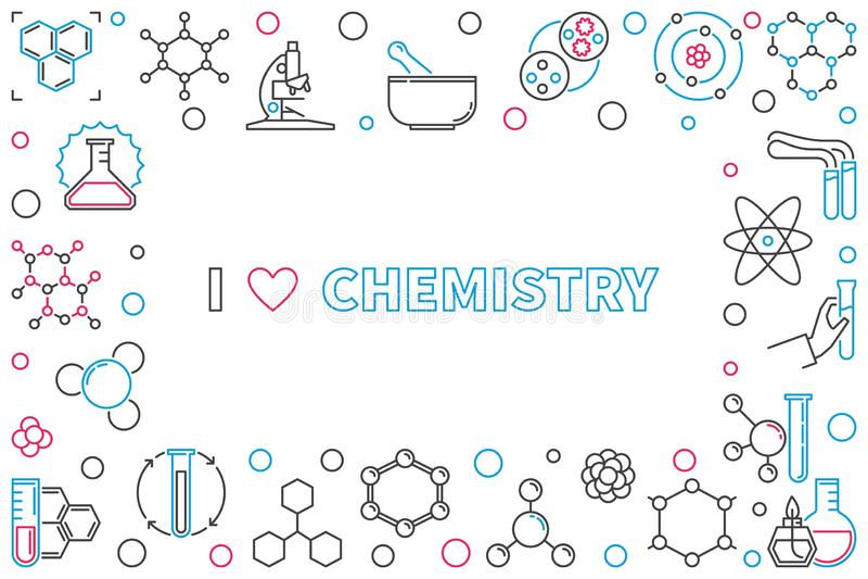 Eu amo a química esboçar o quadro horizontal com espaço vazio ilustração royalty free
