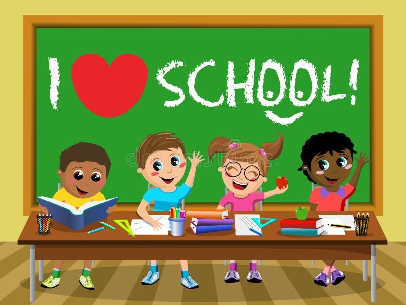 Eu amo a sala de aula feliz das crianças das crianças do quadro-negro da escola ilustração stock