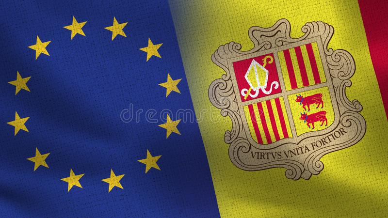 EU and Andorra Realistic Half Flags Together royalty free illustration
