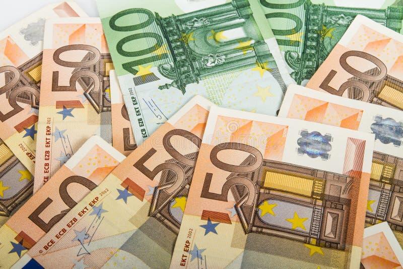 EU bank notes. Variety of EURO bank notes royalty free stock photos