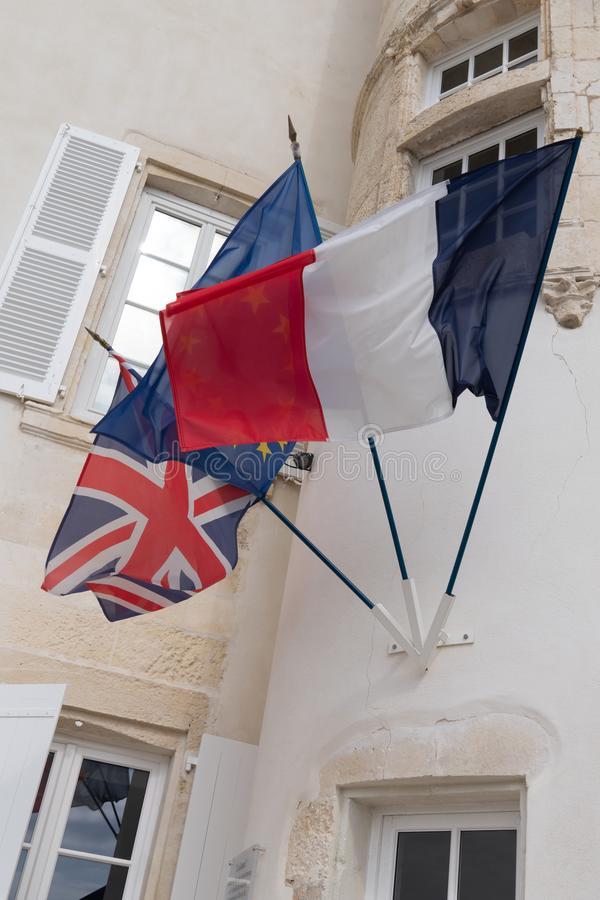 Eu BRITÂNICO da União Europeia de Reino Unido e bandeiras francesas Brexit fotos de stock royalty free
