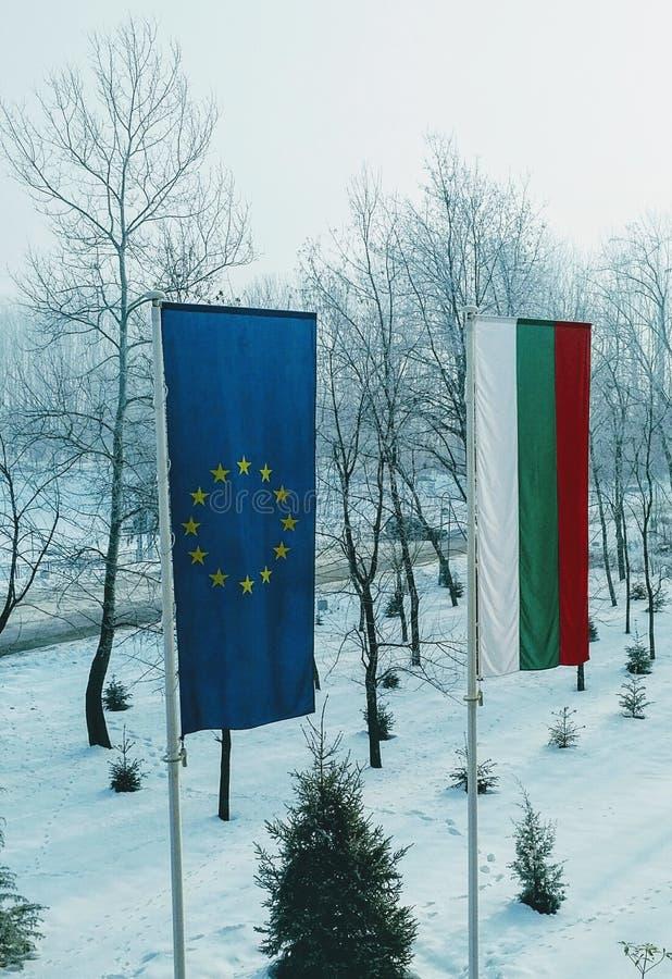 EU- & bulgarflaggor arkivbilder