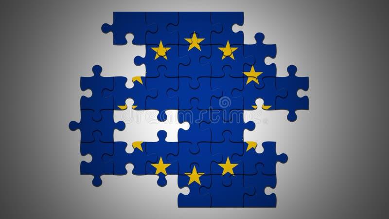 Incomplete EU Flag Jigsaw Puzzle With Missing Pieces, 3d illustration. EU Crisis Concept: Incomplete EU Flag Jigsaw Puzzle With Missing Pieces, 3d illustration vector illustration