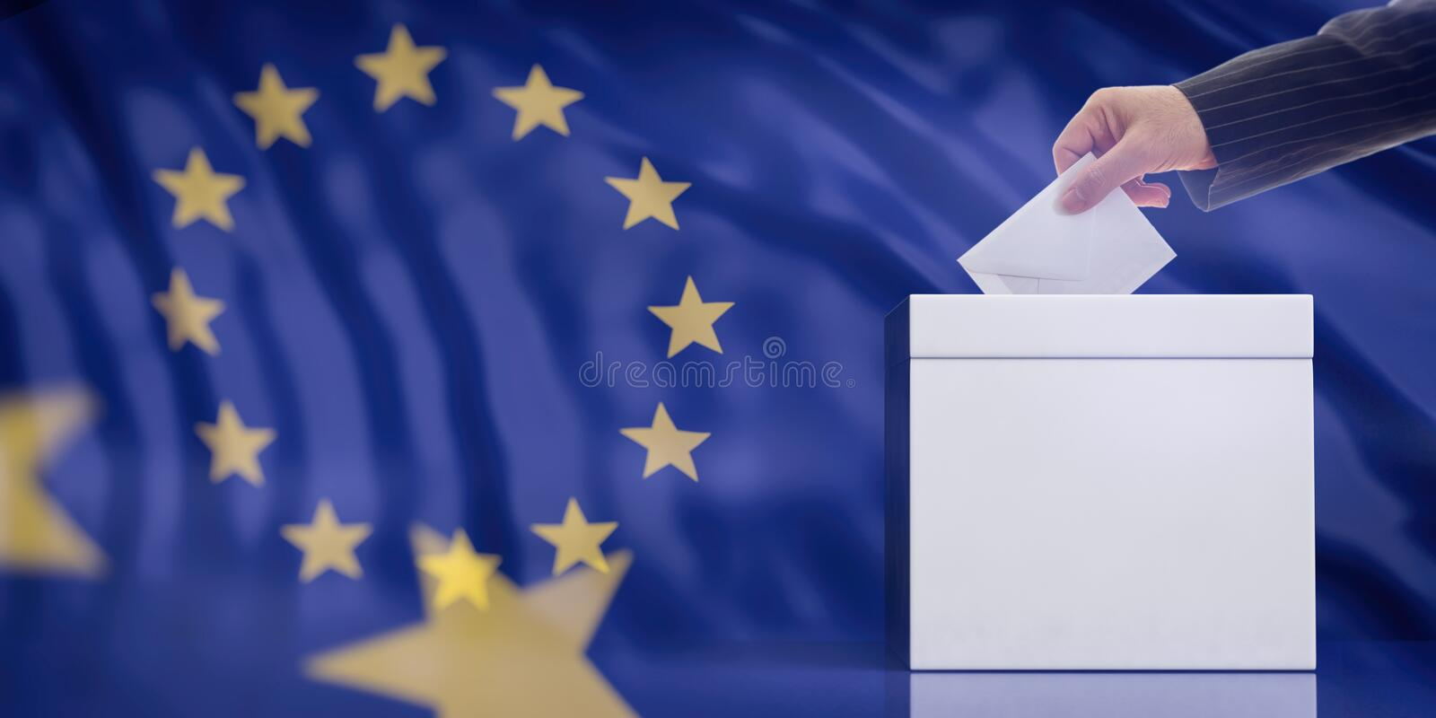 Hand inserting an envelope in a white blank ballot box on European Union flag background, copy space. 3d illustration. EU elections concept. Hand inserting an royalty free illustration
