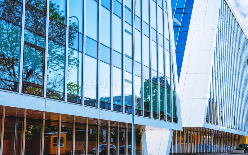 EU Entrance into modern corporate business office building skyscraper stock photos