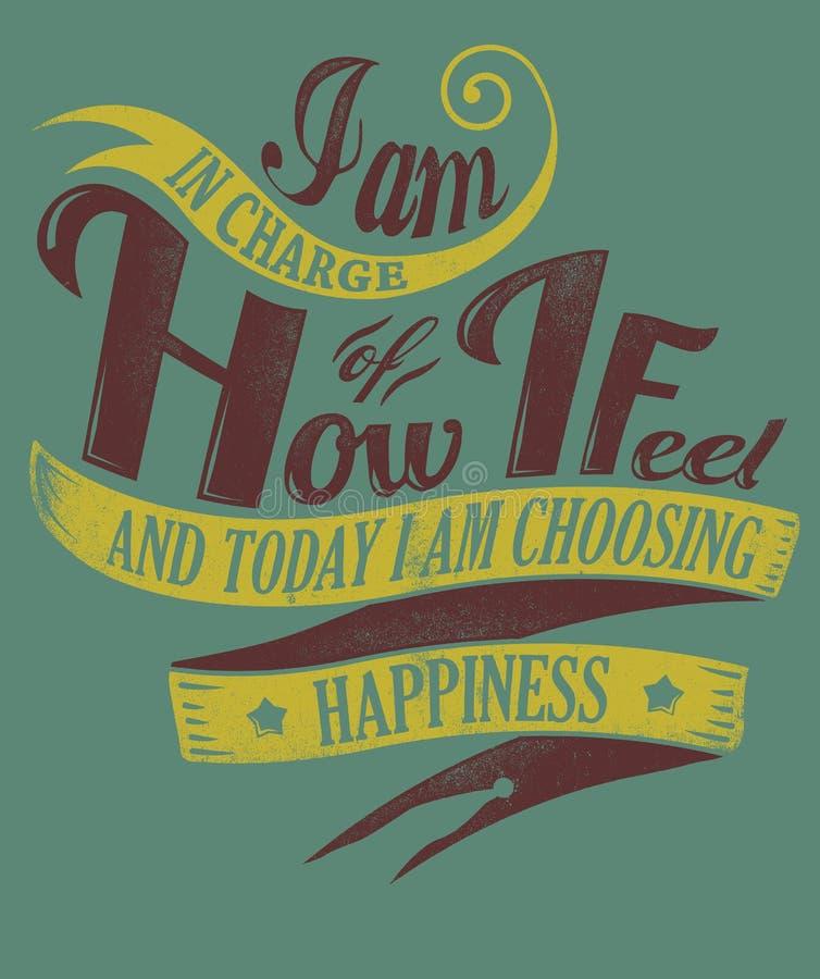 Eu escolho a felicidade ilustração royalty free