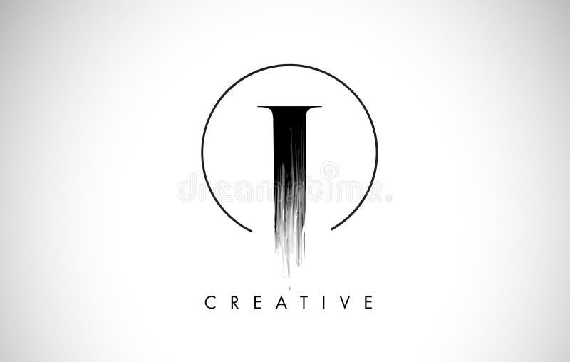 Eu escovo a letra Logo Design do curso Pintura preta Logo Leters Icon ilustração stock