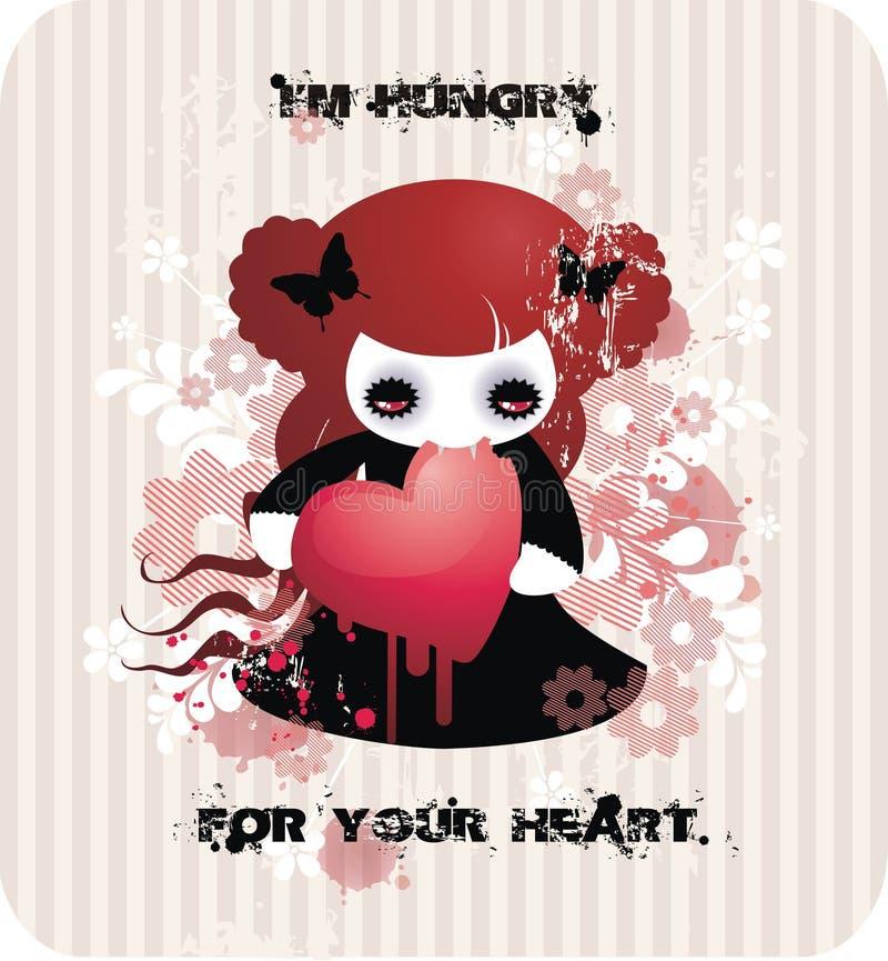 Eu estou com fome para seu coração ilustração do vetor