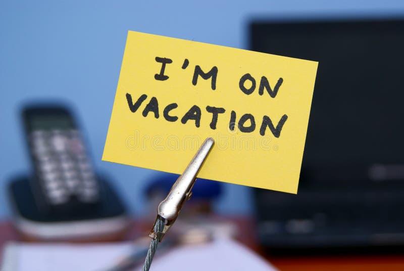 Eu estou em férias imagem de stock