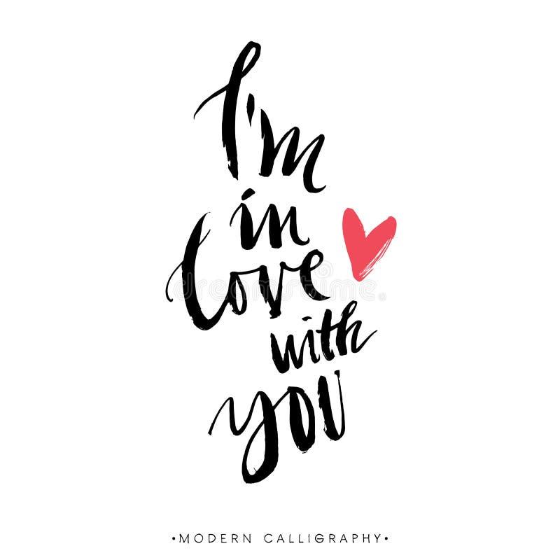 Eu estou no amor com você Caligrafia moderna da escova ilustração royalty free