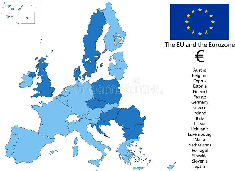 EU and the Euro zone stock photo