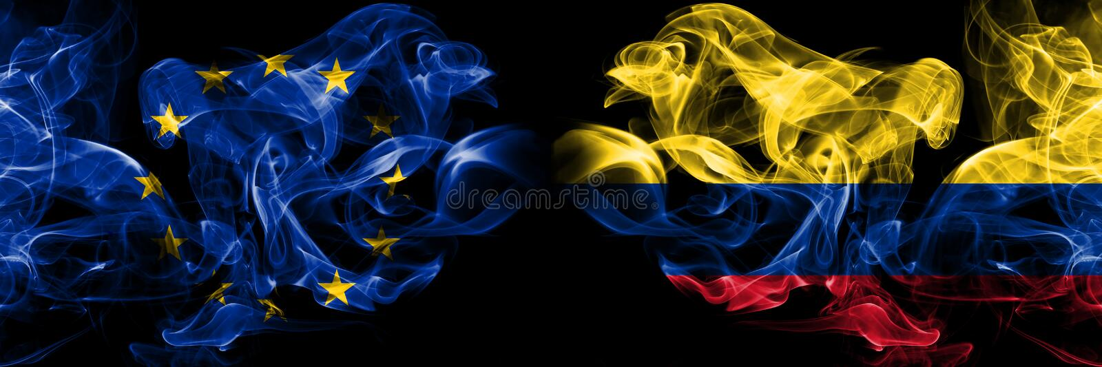 Eu, European union vs Colombia, Colombian smoke flags placed side by side. Thick colored silky smokes abstract flags. Eu, European union vs Colombia, Colombian stock illustration