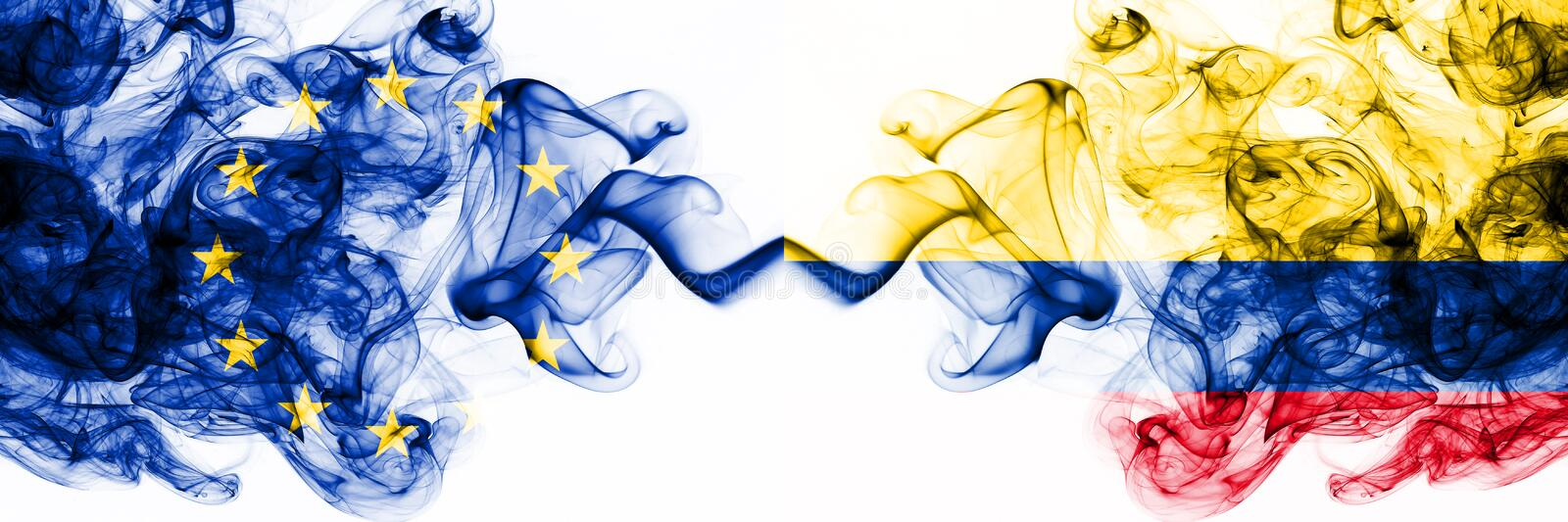 Eu, European Union vs Colombia, Colombian smoky mystic flags placed side by side. Thick colored silky abstract smoke flags. Eu, European Union vs Colombia royalty free illustration